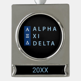 Alpha Xi Delta Stacked Silver Plated Banner Ornament