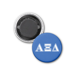 Alpha Xi Delta White and Blue Letters 3 Cm Round Magnet