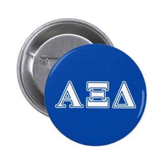 Alpha Xi Delta White and Blue Letters 6 Cm Round Badge