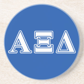 Alpha Xi Delta White and Blue Letters Beverage Coaster