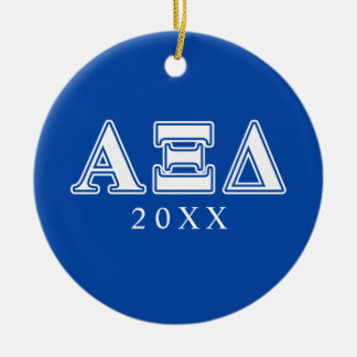 Alpha Xi Delta White and Blue Letters Christmas Ornament