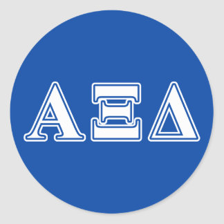 Alpha Xi Delta White and Blue Letters Classic Round Sticker