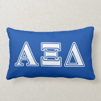 Alpha Xi Delta White and Blue Letters Lumbar Cushion