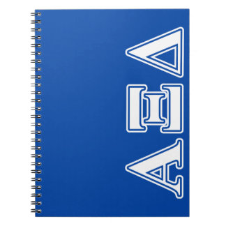 Alpha Xi Delta White and Blue Letters Notebook
