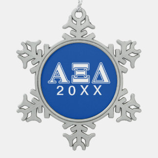 Alpha Xi Delta White and Blue Letters Snowflake Pewter Christmas Ornament