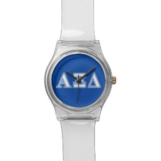 Alpha Xi Delta White and Blue Letters Watch