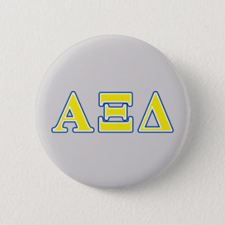 Alpha Xi Delta Yellow and Blue Letters 6 Cm Round Badge