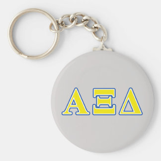 Alpha Xi Delta Yellow and Blue Letters Basic Round Button Key Ring