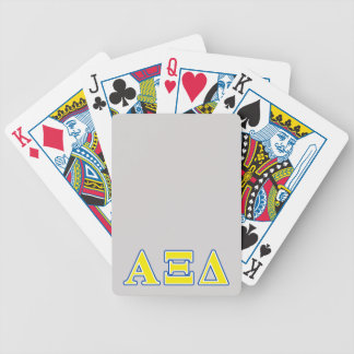 Alpha Xi Delta Yellow and Blue Letters Bicycle Playing Cards