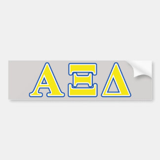 Alpha Xi Delta Yellow and Blue Letters Bumper Sticker