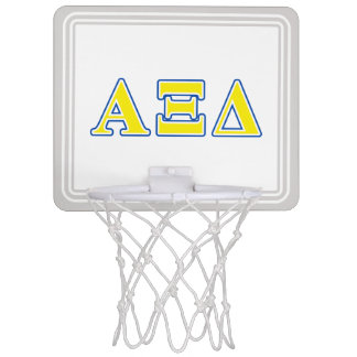 Alpha Xi Delta Yellow and Blue Letters Mini Basketball Hoop