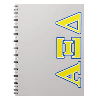 Alpha Xi Delta Yellow and Blue Letters Notebook