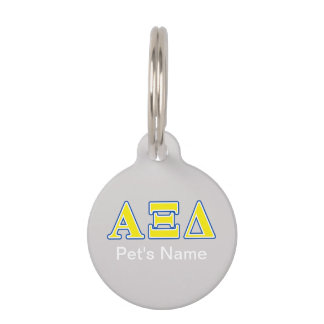 Alpha Xi Delta Yellow and Blue Letters Pet Name Tag