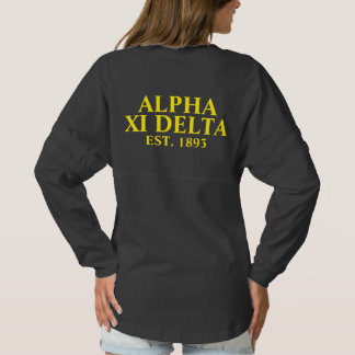 Alpha Xi Delta Yellow and Blue Letters Spirit Jersey