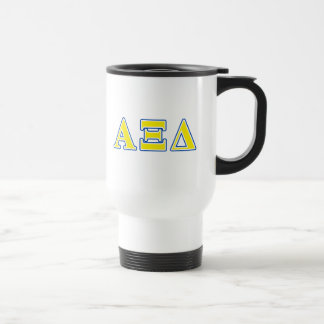 Alpha Xi Delta Yellow and Blue Letters Travel Mug