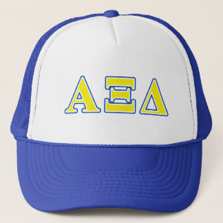 Alpha Xi Delta Yellow and Blue Letters Trucker Hat