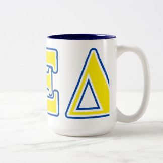 Alpha Xi Delta Yellow and Blue Letters Two-Tone Coffee Mug