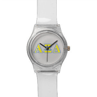 Alpha Xi Delta Yellow and Blue Letters Watch