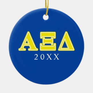 Alpha Xi Delta Yellow Letters Christmas Ornament