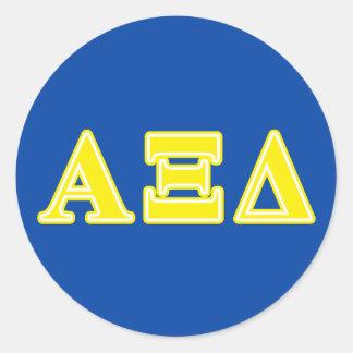 Alpha Xi Delta Yellow Letters Classic Round Sticker