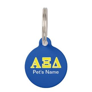 Alpha Xi Delta Yellow Letters Pet Tag