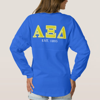 Alpha Xi Delta Yellow Letters Spirit Jersey
