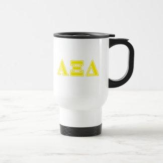 Alpha Xi Delta Yellow Letters Travel Mug