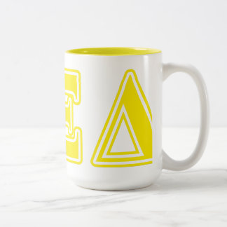 Alpha Xi Delta Yellow Letters Two-Tone Coffee Mug