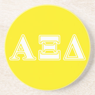 Alpha Xi Detla White and Yellow Letters Beverage Coasters