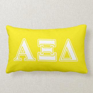 Alpha Xi Detla White and Yellow Letters Lumbar Cushion