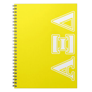 Alpha Xi Detla White and Yellow Letters Notebook
