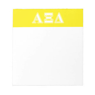 Alpha Xi Detla White and Yellow Letters Notepad