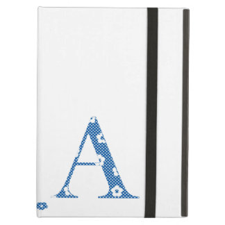 alphabet A with flower pattern (blue) iPad Air Covers