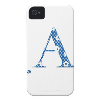 alphabet A with flower pattern (blue) iPhone 4 Case-Mate Cases