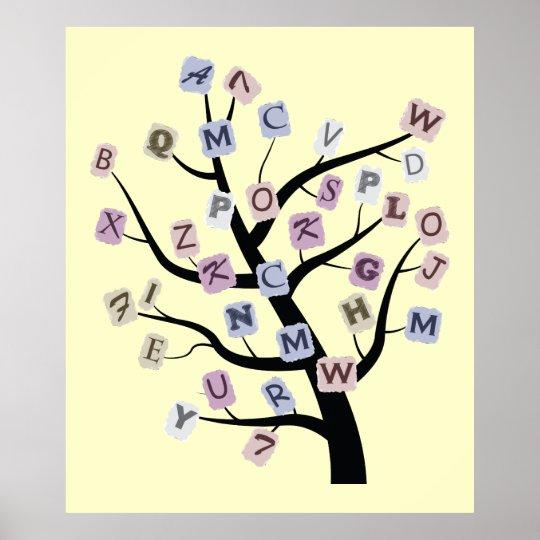 Alphabet ABC tree custom poster print