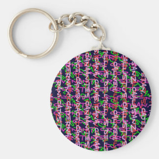 Alphabet alpha art colourful COLORFUL fashion gift Basic Round Button Keychain