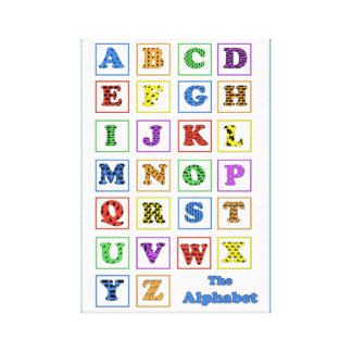 Alphabet Animal Silhouettes Gallery Wrapped Canvas