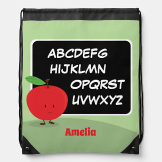Alphabet Apple with Name   Drawstring Backpack