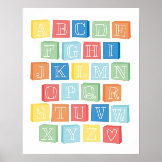 Alphabet Blocks Children's Modern Art Poster