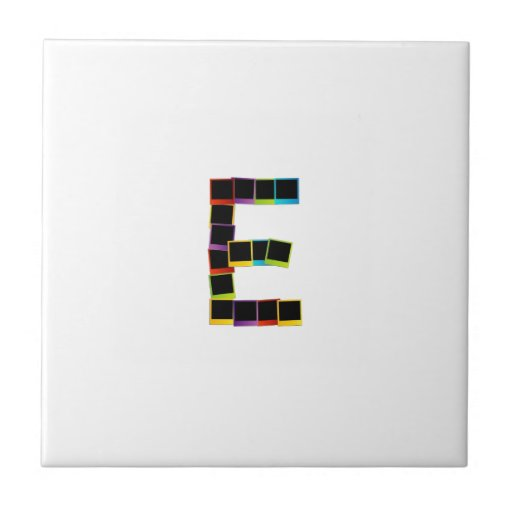 Alphabet E with colorful polaroids Ceramic Tiles