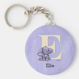 Alphabet Elephant Basic Round Button Key Ring