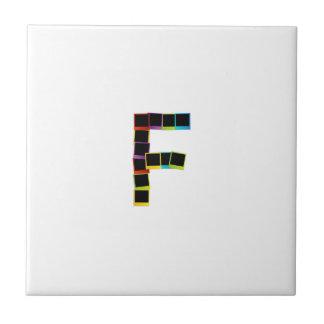 Alphabet F with colorful polaroids Ceramic Tiles