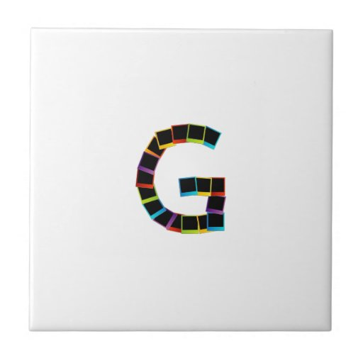 Alphabet G with colorful polaroids Ceramic Tiles