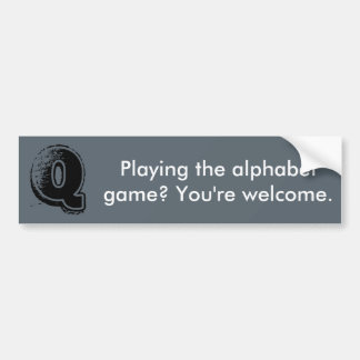 Alphabet Game Bumper Sticker Q
