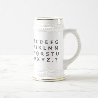 Alphabet Hammered Chrome Capitals Beer Steins