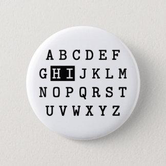 Alphabet Hi 6 Cm Round Badge