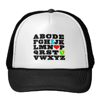 Alphabet I love you red heart cute comments Hats