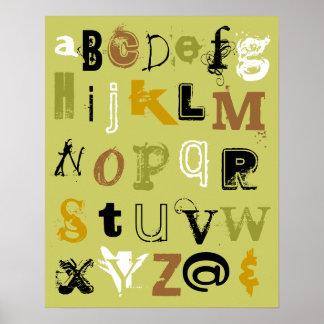 Alphabet in Green Poster