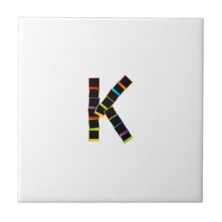 Alphabet K with colorful polaroids Tiles