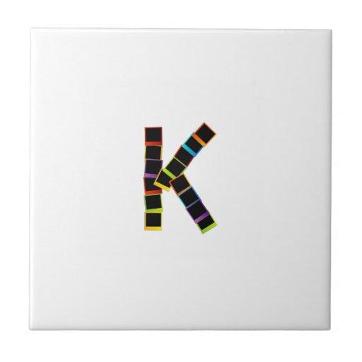 Alphabet K with colorful polaroids Tiles